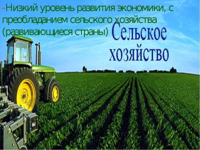 -Низкий уровень развития экономики, с преобладанием сельского хозяйства (разв...