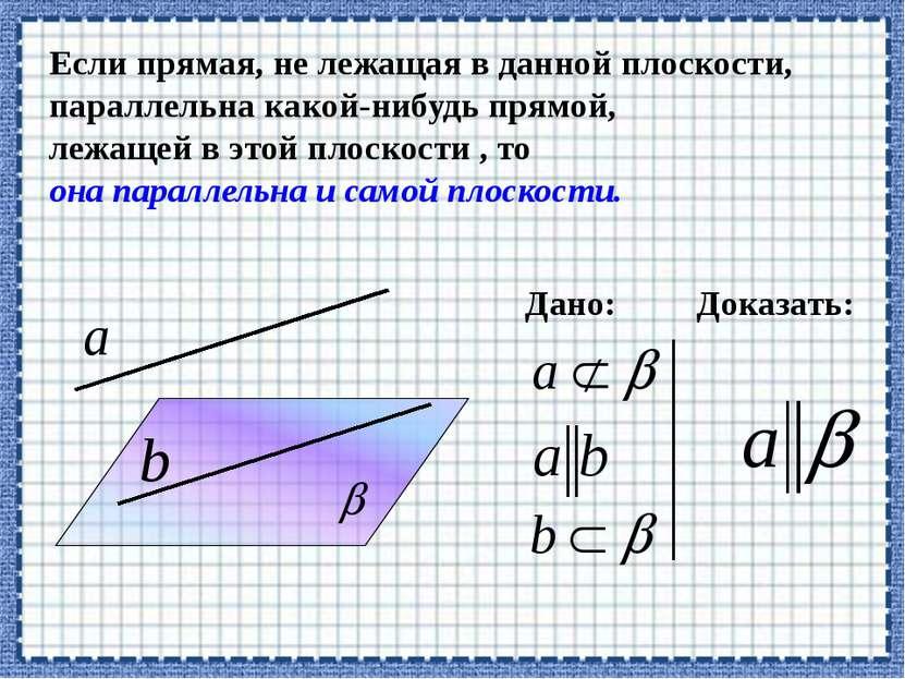 Если прямая, не лежащая в данной плоскости, параллельна какой-нибудь прямой, ...