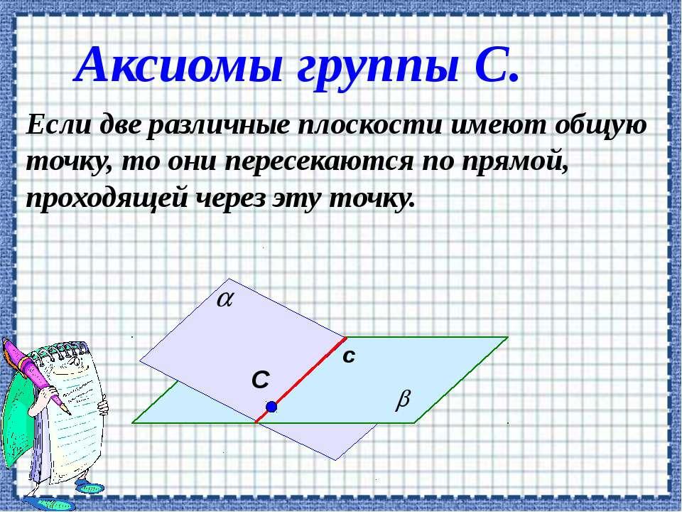 Аксиомы группы С. Если две различные плоскости имеют общую точку, то они пере...