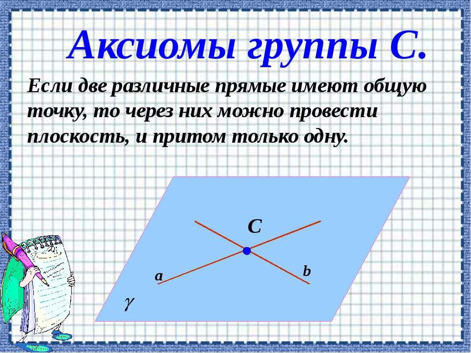 Аксиомы группы С. Если две различные прямые имеют общую точку, то через них м...