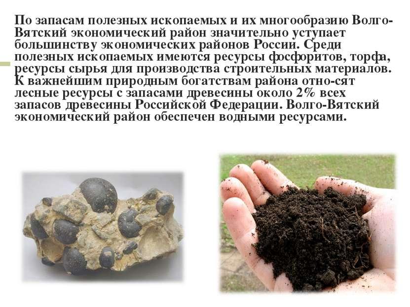 По запасам полезных ископаемых и их многообразию Волго-Вятский экономический ...