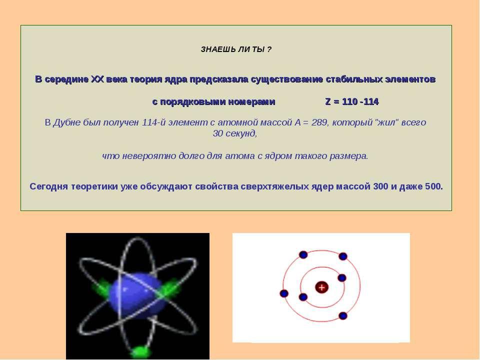 ЗНАЕШЬ ЛИ ТЫ ? В середине XX века теория ядра предсказала существование стаби...