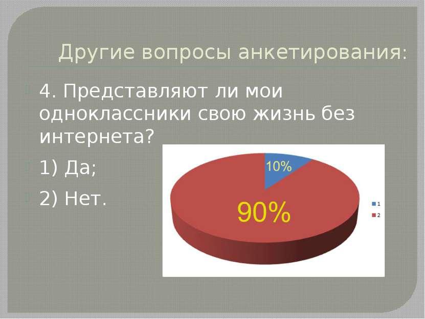Другие вопросы анкетирования: 4. Представляют ли мои одноклассники свою жизнь...