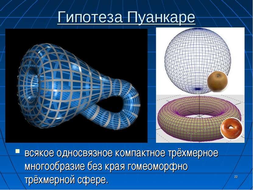 Гипотеза Пуанкаре * всякое односвязное компактное трёхмерное многообразие без...