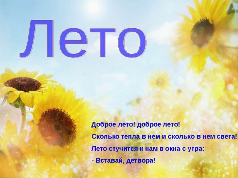 Доброе лето! доброе лето! Сколько тепла в нем и сколько в нем света! Лето сту...
