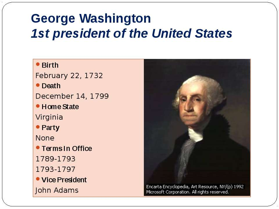 George Washington 1st president of the United States Birth February 22, 1732 ...