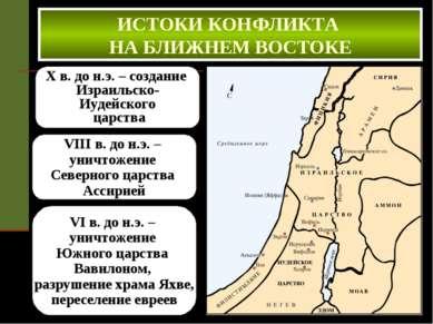X в. до н.э. – создание Израильско- Иудейского царства ИСТОКИ КОНФЛИКТА НА БЛ...