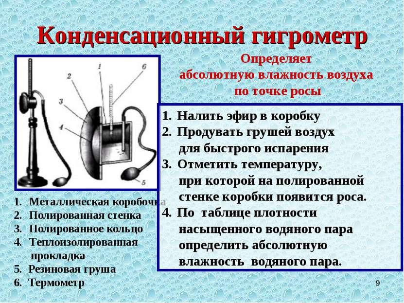* Конденсационный гигрометр Металлическая коробочка Полированная стенка Полир...