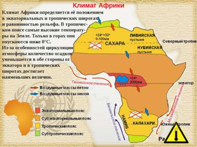 Климат Африки Климат Африки определяется её положением в экваториальных и тро...