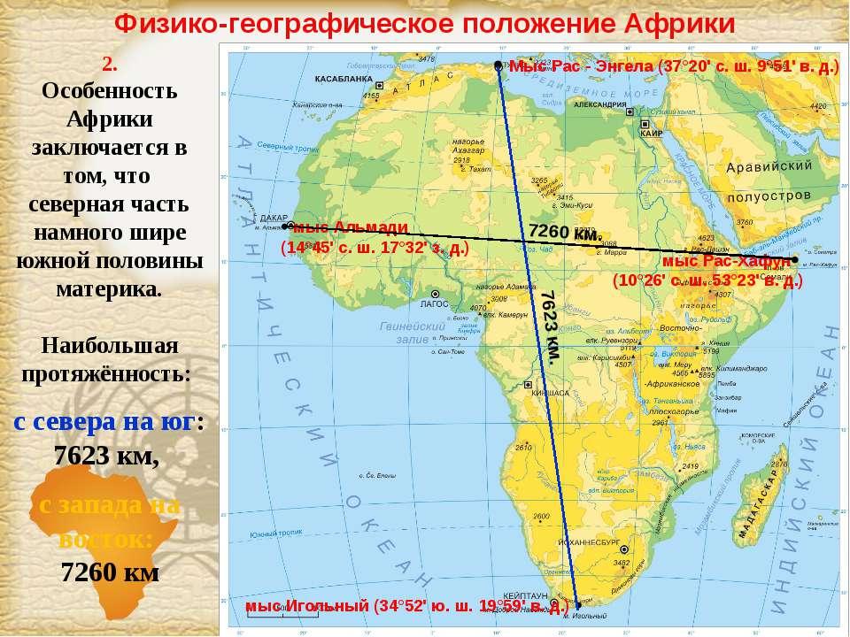 Физико-географическое положение Африки 2. Особенность Африки заключается в то...