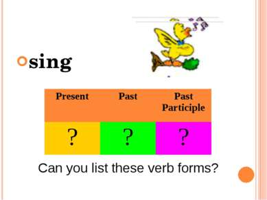 sing Can you list these verb forms? Present Past Past Participle ? ? ?