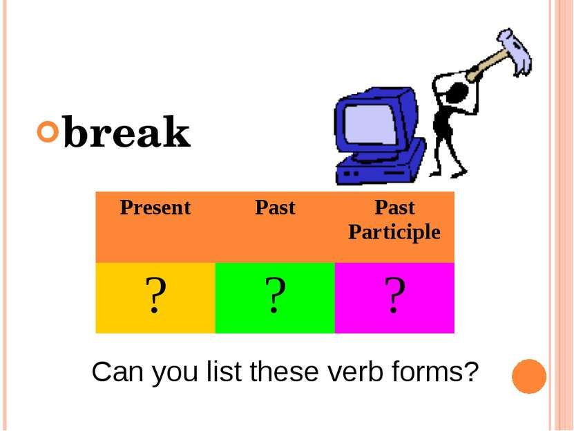 break Can you list these verb forms? Present Past Past Participle ? ? ?