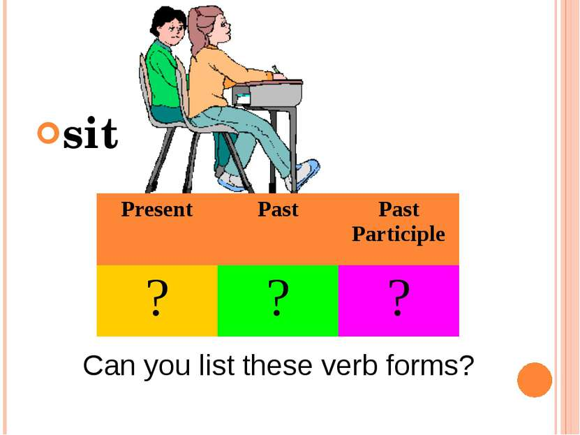 sit Can you list these verb forms? Present Past Past Participle ? ? ?