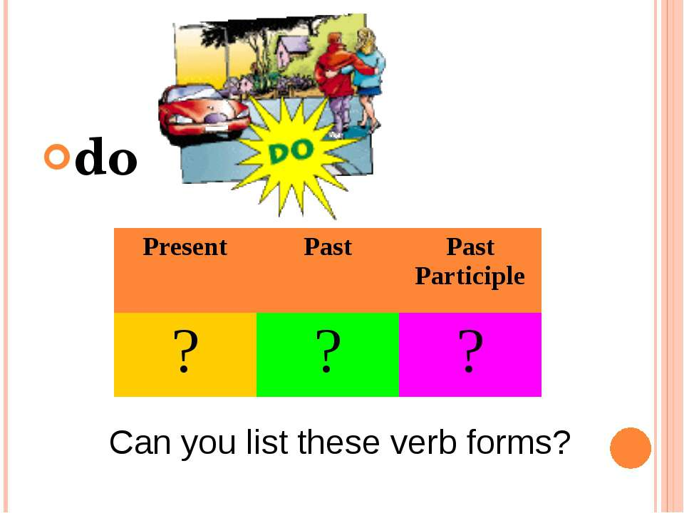 do Can you list these verb forms? Present Past Past Participle ? ? ?