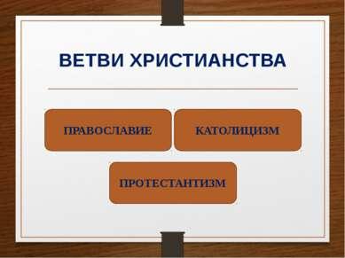 ВЕТВИ ХРИСТИАНСТВА ПРАВОСЛАВИЕ КАТОЛИЦИЗМ ПРОТЕСТАНТИЗМ