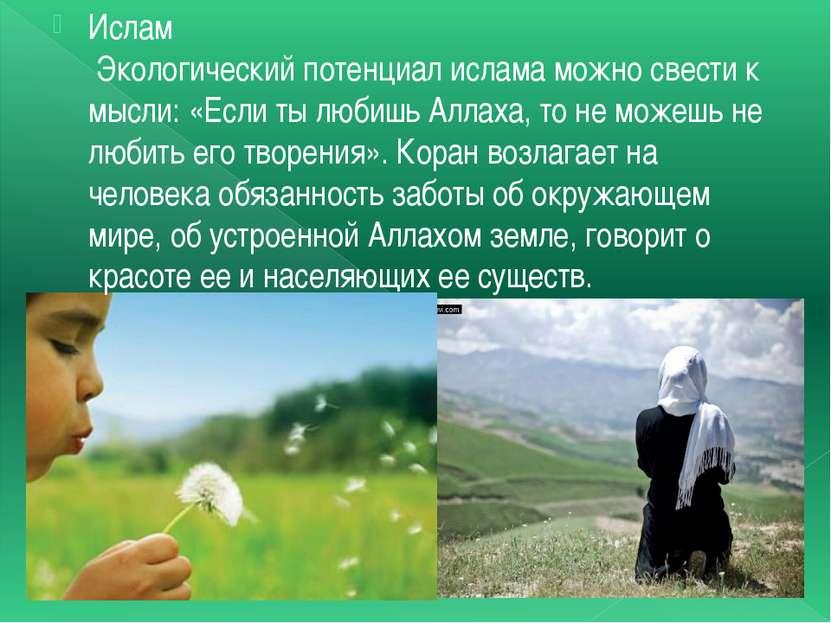 Ислам Экологический потенциал ислама можно свести к мысли: «Если ты любишь Ал...