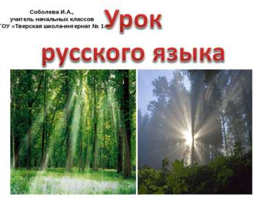 Соболева И.А., учитель начальных классов ГОУ «Тверская школа-интернат № 1»