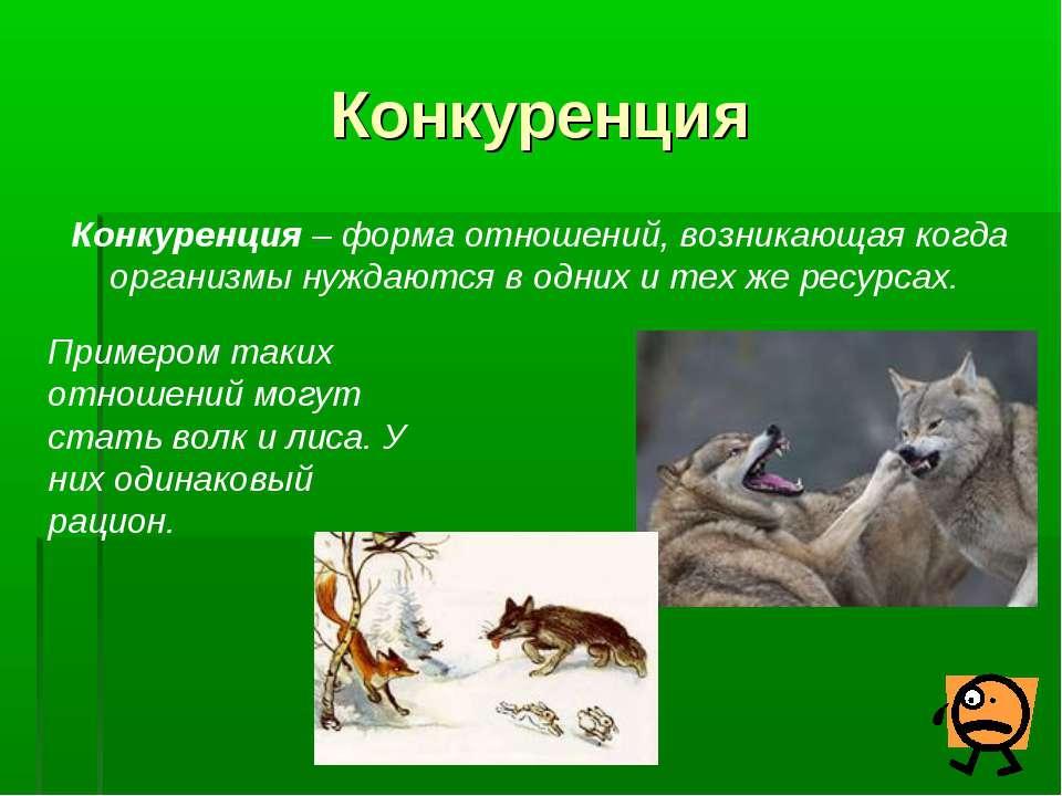 Конкуренция Конкуренция – форма отношений, возникающая когда организмы нуждаю...