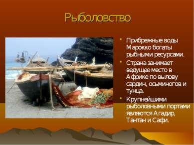 Рыболовство Прибрежные воды Марокко богаты рыбными ресурсами. Страна занимает...