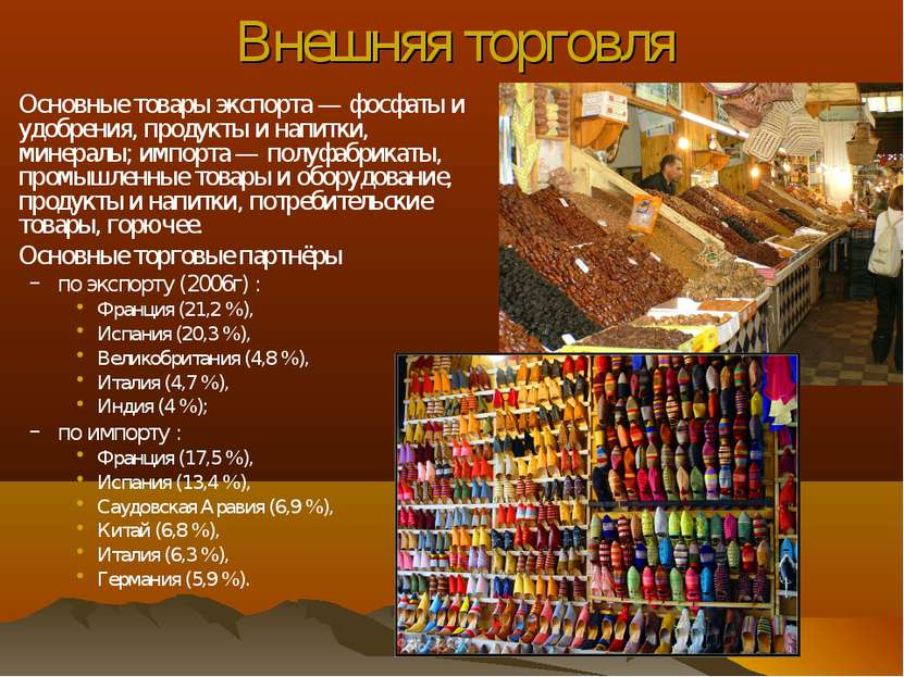 Внешняя торговля Основные товары экспорта — фосфаты и удобрения, продукты и н...