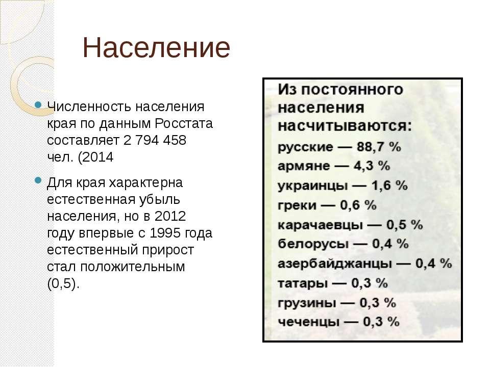 Население Численность населения края по данным Росстата составляет 2 794 458 ...