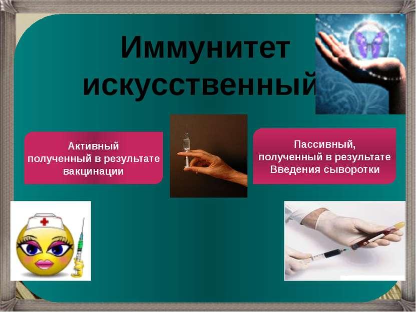 Иммунитет искусственный Активный полученный в результате вакцинации Пассивный...