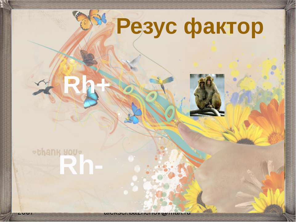 2007 aleksei.bazhenov@mail.ru Резус фактор Rh+ Rh-