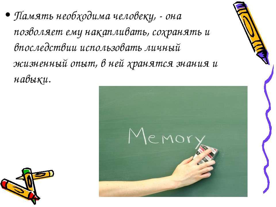 Память необходима человеку, - она позволяет ему накапливать, сохранять и впос...