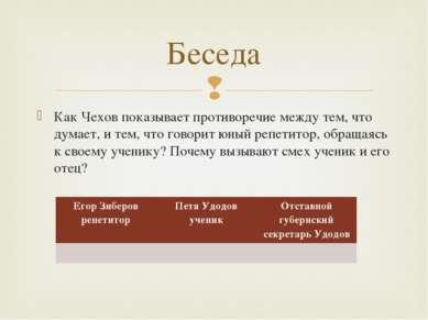 Как Чехов показывает противоречие между тем, что думает, и тем, что говорит ю...