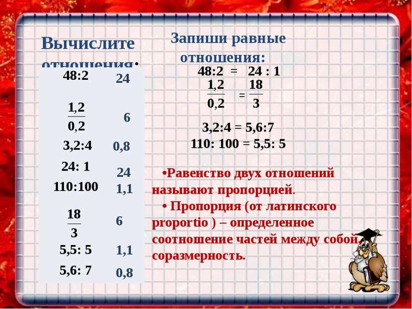 Вычислите отношения: 48:2 = 24 : 1 3,2:4 = 5,6:7 110: 100 = 5,5: 5 = Запиши р...