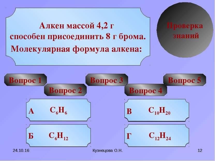 * Кузнецова О.Н. * Проверка знаний Вопрос 1 УРА! Попробуй еще Попробуй еще По...