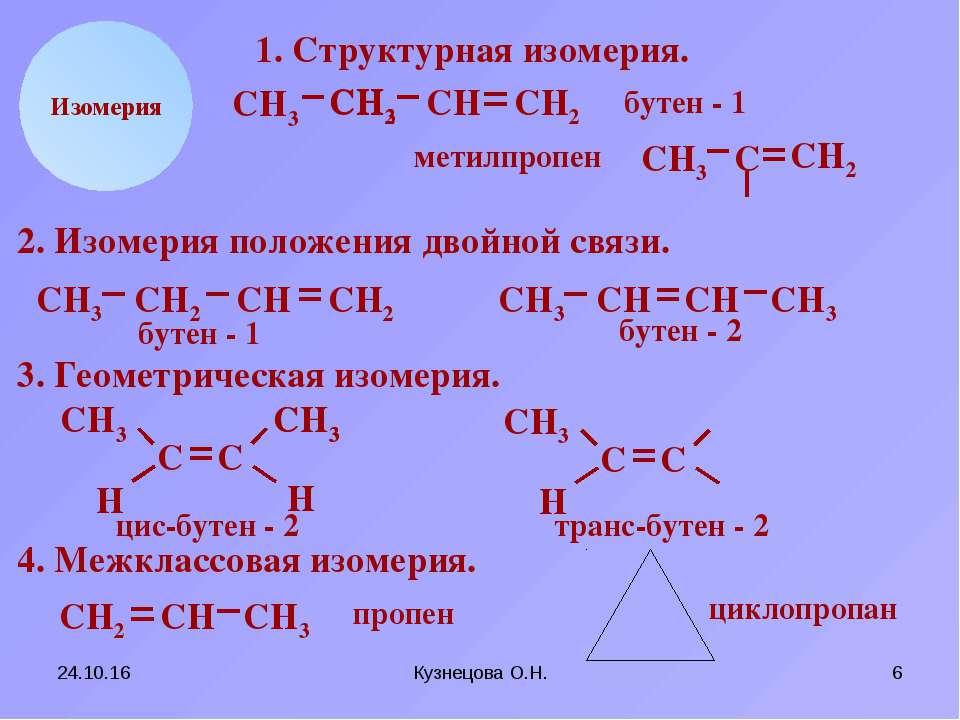 * Кузнецова О.Н. * СН2 СН СН3 Н Изомерия 1. Структурная изомерия. СН2 СН3 С С...