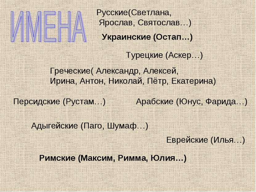 Русские(Светлана, Ярослав, Святослав…) Греческие( Александр, Алексей, Ирина, ...
