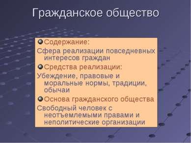 Гражданское общество Содержание: Сфера реализации повседневных интересов граж...