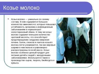 Козье молоко Козье молоко — уникально по своему составу. В нем содержится бол...
