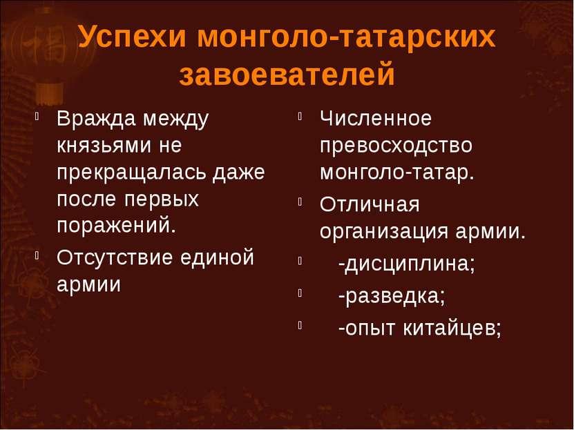 Успехи монголо-татарских завоевателей Вражда между князьями не прекращалась д...