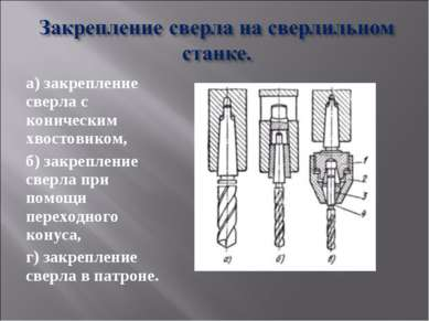 а) закрепление сверла с коническим хвостовиком, б) закрепление сверла при пом...