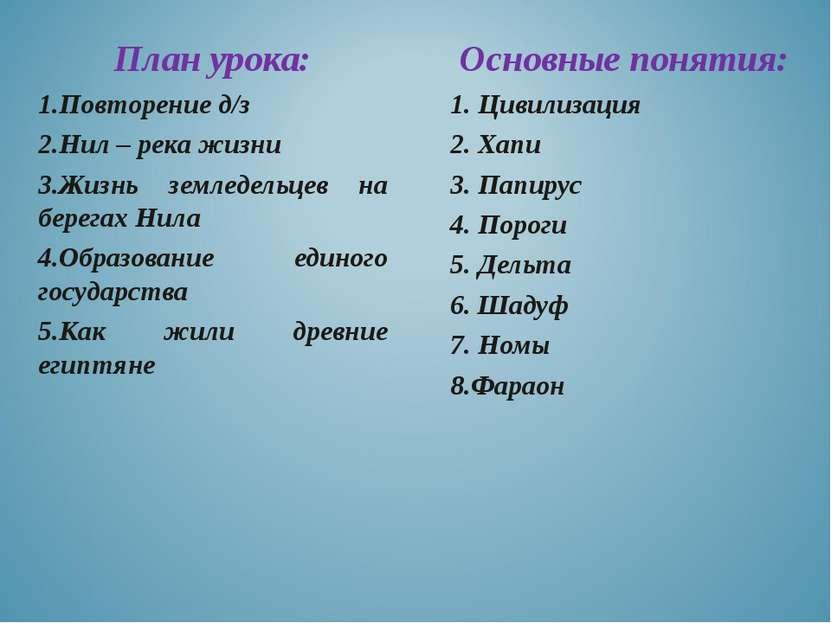 Основные понятия: 1. Цивилизация 2. Хапи 3. Папирус 4. Пороги 5. Дельта 6. Ша...