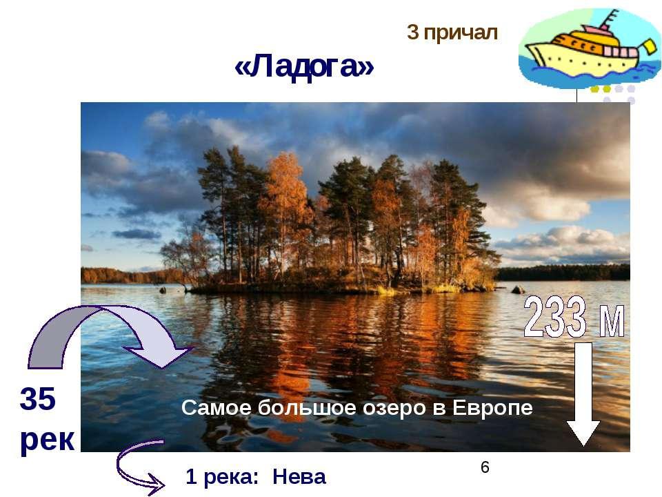 3 причал «Ладога» . 35 рек Самое большое озеро в Европе 1 река: Нева