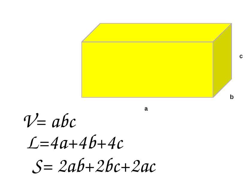 a b c V= abc S= 2ab+2bc+2ac L=4a+4b+4c