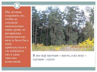 В лес иду пустым – пусто, а из лесу – густым – густо Мы должны сохранить лес,...
