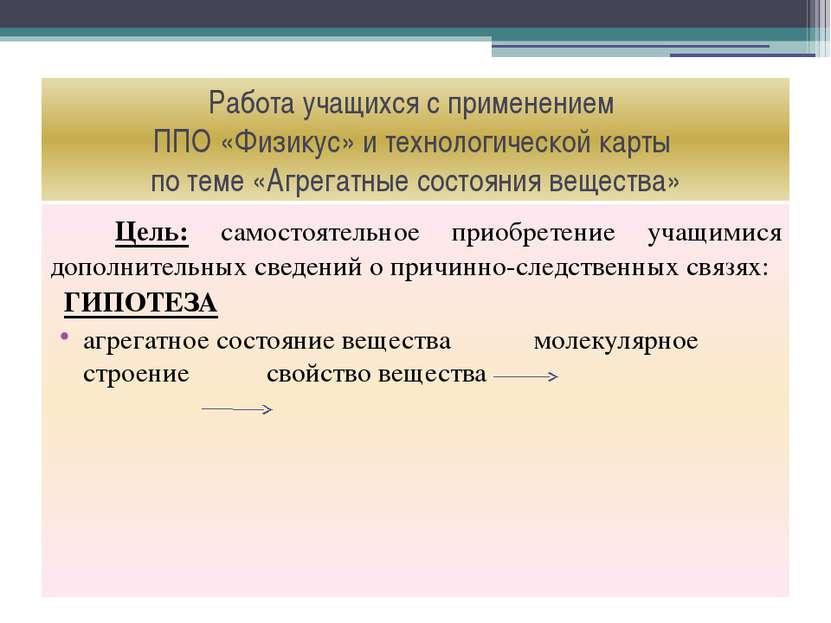 Работа учащихся с применением ППО «Физикус» и технологической карты по теме «...