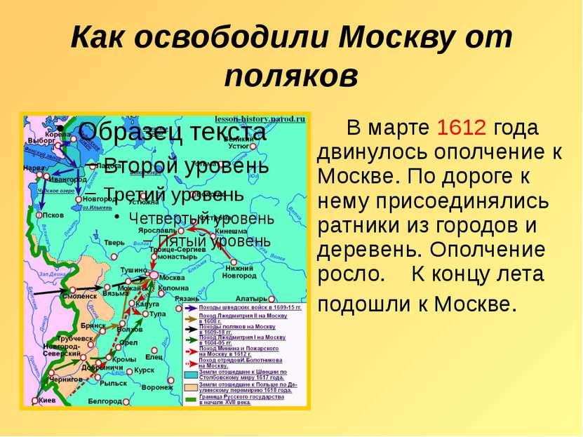Как освободили Москву от поляков В марте 1612 года двинулось ополчение к Моск...