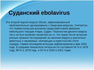Суданский ebolavirus Это второй подтип вируса Эбола, зафиксированный приблизи...