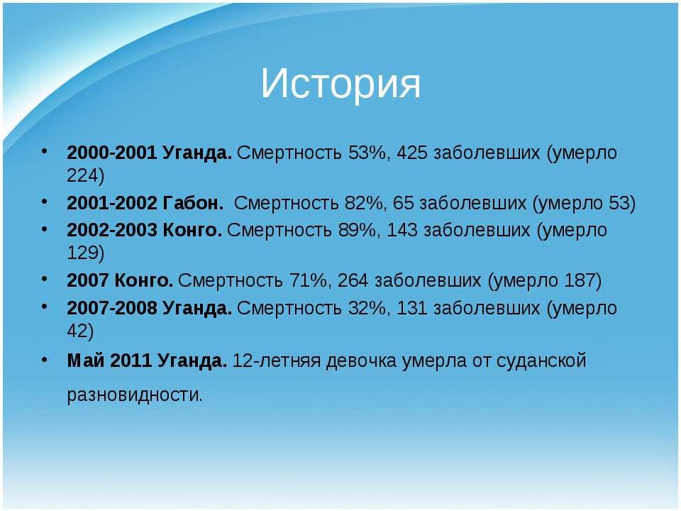 История 2000-2001 Уганда. Смертность 53%, 425 заболевших (умерло 224) 2001-20...