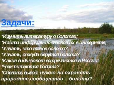 Задачи: Изучить литературу о болотах; Найти информацию о болотах в интернете;...