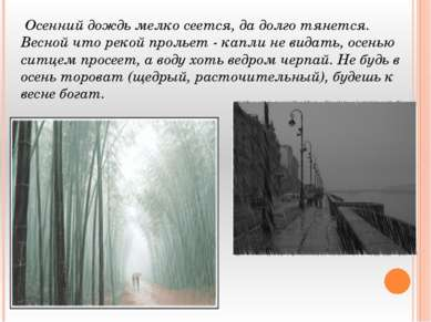 Осенний дождь мелко сеется, да долго тянется. Весной что рекой прольет - капл...