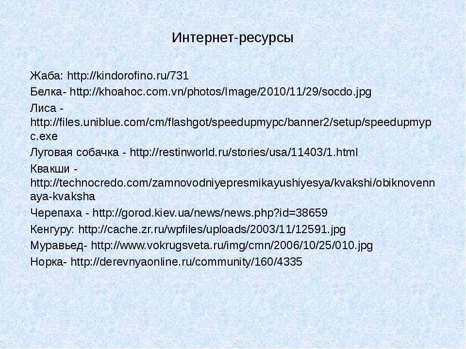 Интернет-ресурсы Жаба: http://kindorofino.ru/731 Белка- http://khoahoc.com.vn...