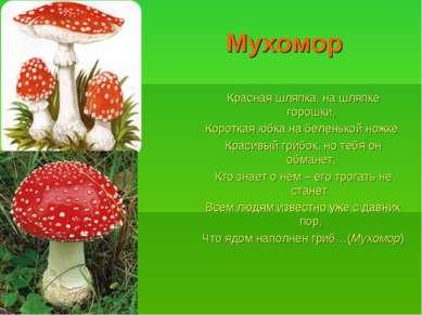 Мухомор Красная шляпка, на шляпке горошки, Короткая юбка на беленькой ножке. ...