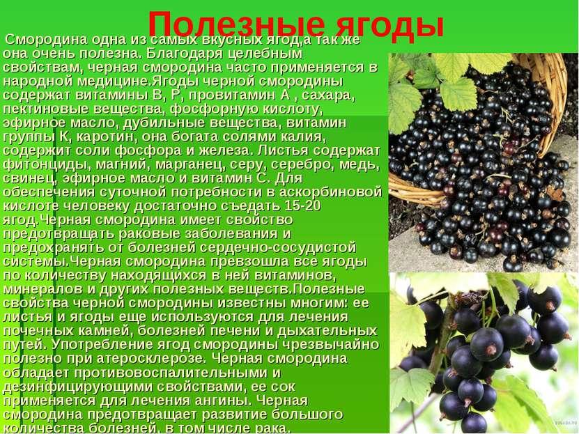 Полезные ягоды Смородина одна из самых вкусных ягод,а так же она очень полезн...